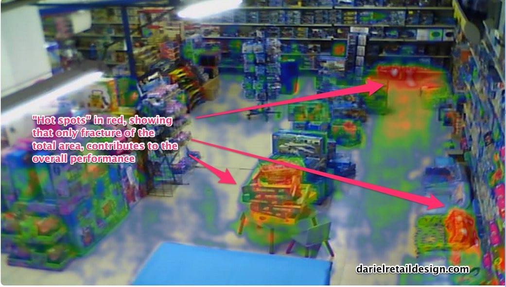 retail instore traffic hotspot map